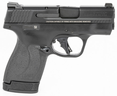 """Smith & Wesson, Shield Plus, Striker Fired, Micro Compact, 9mm, 3.1"""" Barrel, Polymer Frame, No Thumb Safety, Tritium Night Sights, Flat Face Trigger, 3 Mags, 1-10Rd 2-13Rd, Black"""