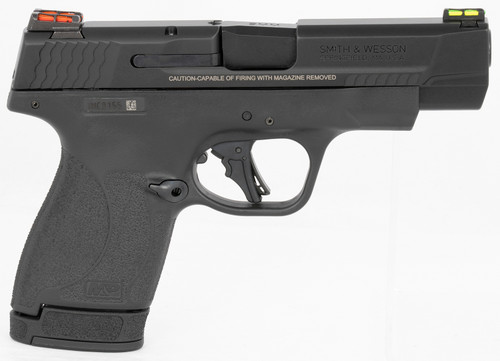 "Smith & Wesson, Shield Plus, Performance Center, Striker Fired, Micro Compact, 9mm, 4"" Barrel, Polymer Frame, No Thumb Safety, Fiber Optic Sights, Flate Face Trigger, 2 Mags, 1-10Rd 1-13Rd, Black"