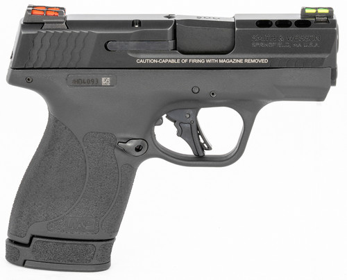 """Smith & Wesson, Shield Plus, Performance Center, Striker Fired, Micro Compact, 9mm, 3.1"""" Ported Barrel, Polymer Frame, Thumb Safety, Fiber Optic, Flat Face Trigger, 2 Mags, 1-10Rd 1-13Rd, Black"""
