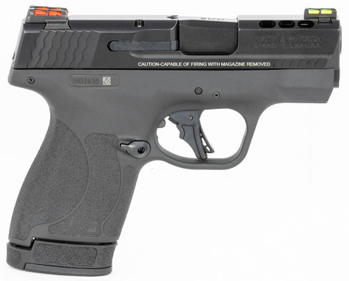 """Smith & Wesson, Shield Plus, Performance Center, Includes EDC Kit - Oasis Liner Lock Folding Knife & Delta Force CS LED Flashlight, Striker Fired, Micro Compact, 9mm, 3.1"""" Ported Barrel, Polymer Frame, Thumb Safety, Fiber Optic Sights, Flat Face Trigger,"""