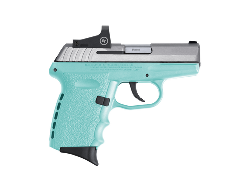 "SCCY Industries CPX-2 RD 9mm, 3.10"" Barrel, Stainless Slide Robin Egg Blue Grip, NMS CTS-1500 Red Dot, 10rd"