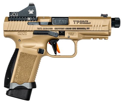 """Canik TP9SF Combat 9mm, 4.7"""" TB, Vortex Viper, Flat Dark Earth, 18rd"""