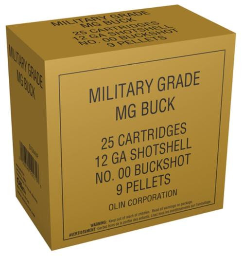 Winchester Military Grade 12 Gauge 2.75 Inch 1325 FPS 9 Pellets 00 Buckshot Value Pack 25 Rounds