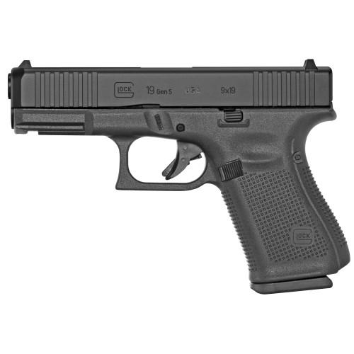 "Glock G19 Gen5 USA 9mm, 4"" Barrel, Fixed Sights, Black, 15rd"