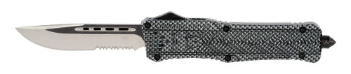 "CobraTec CTK-1 Large, 3.75"", D2 Steel, Drop Point, Partially Serrated, Aluminum Alloy Carbon Fiber"
