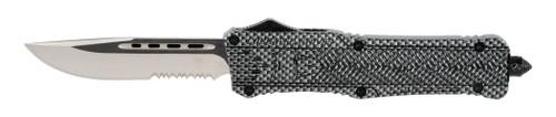 """CobraTec CTK-1 Large, 3.75"""", D2 Steel, Drop Point, Partially Serrated, Aluminum Alloy Carbon Fiber"""