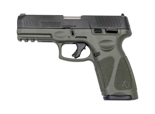 "Taurus G3 9mm, 4"" Barrel, Adj. Rear/White Dot Front, OD Green, 15rd/17rd"