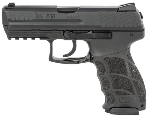 "HK P30 V1 Light LEM 9mm, 3.85"" Barrel, Fixed Sights, NTS, Black, 17rd"