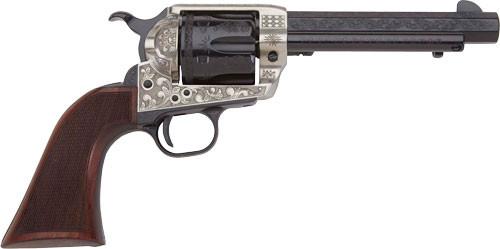 "Pietta 1873 GW2 Deluxe Alchimista III 45 Colt, 5.50"" Barrel, Blued Engraved Walnut Army Checkered Grip, 6rd"