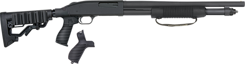 """Mossberg 590, Tactical 12 Ga, 3"""" Chamber, 18.5"""" Cylinder Barrel, Blue Finish, 6 Position Flex Tactical Stock with Corn Cob Forend, Right Hand, 7Rd, Bead Sight"""