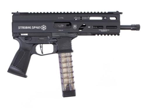 """Grand Power Stribog SP9A3 9mm, 8"""" Barrel, Flip-Up Sights, No Brace, Black, 30rd"""