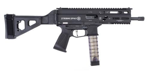 "Grand Power Stribog SP9A3 9mm, 8"" Barrel, Flip-Up Sights, SB Folding Brace, Black, 30rd"