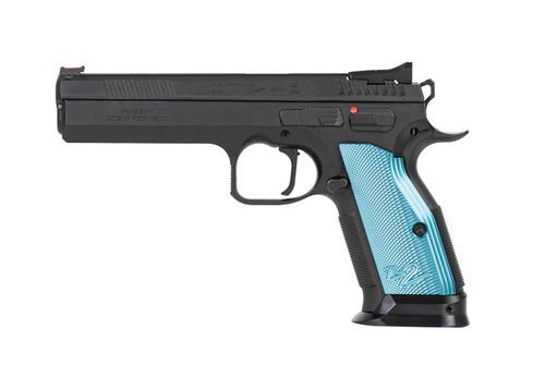 """CZ TS 2 9mm, 5.23"""" Barrel, FO Front, Blue Aluminum Grips, Black, 20rd"""