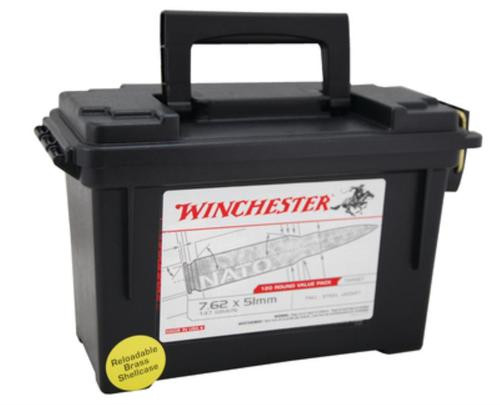 Winchester USA Brand 7.62x51mm NATO 147gr, Full Metal Jacket, 120rd/Plastic Can
