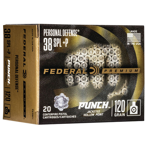 Federal Punch .38 Special, 120gr, Jacketed Hollow Point, 20rd Box