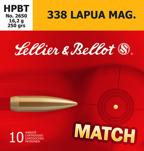 Sellier & Bellot .338 Lapua, 250gr, Hollow Point Boat Tail, 10rd Box