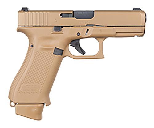 "Glock, 19X, Striker Fired, Semi-automatic, Polymer Frame Pistol, Compact, 9mm, 4.02"" Marksman Barrel, PVD Finish, Coyote, Glock Night Sights, 17 Rounds"
