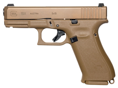 "Glock 19X Factory Rebuilt AUS 9mm, 4.02"" Barrel, Night Sights, Flat Dark Earth, 17rd"