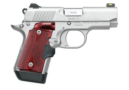 """Kimber Micro 9 Stainless 9mm, 3.15"""" Barrel, Rosewood Laser Grip, Satin Silver, 7rd"""