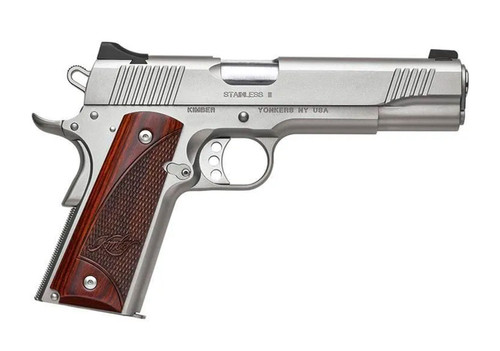 """Kimber Stainless II 10mm, 5"""" Barrel, Rosewood Grips, Satin Silver, 8rd"""