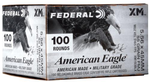 Federal American Eagle XM 5.56x45mm NATO, 55gr, FMJBT, 100rd Box