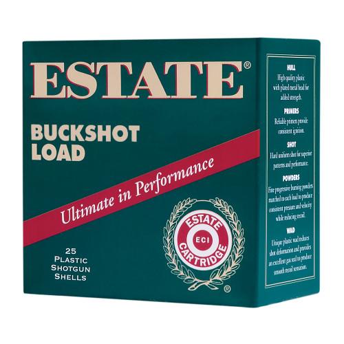 "Estate Buckshot Load 12 Ga, 2.75"" Shell, 9 Pellets, 00 Buck Shot, 25rd Box"