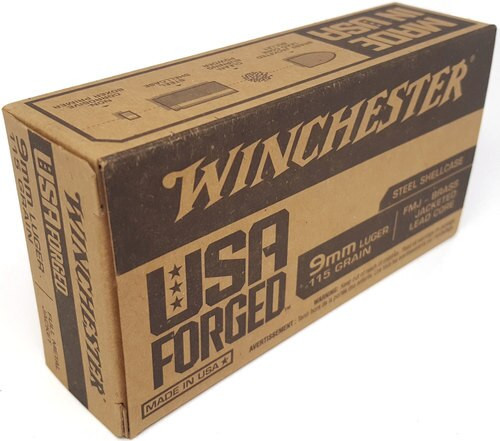 Winchester USA Forged 9mm, 115gr, FMJ, 50rd Box