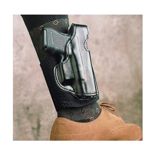 DeSantis Gunhide, Die Hard Ankle Holster, Fits Glock 43/43X, Right Hand, Black Leather