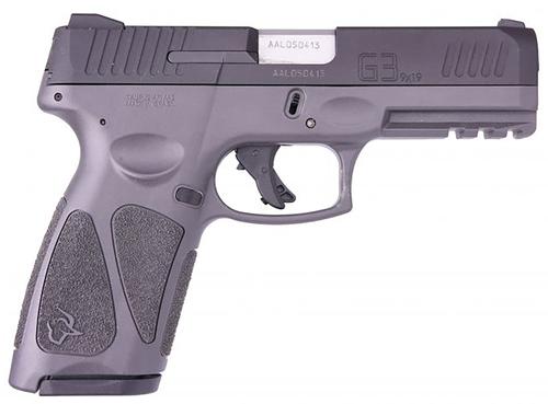 "Taurus G3 Full-Size 9mm, 4"" Barrel, Adj. Rear Sight, Manual Safety, Gray, 15rd/17rd"