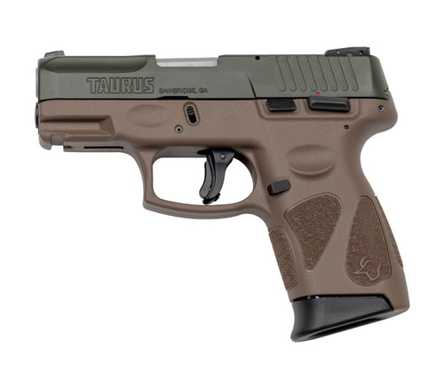 "Taurus G2C 9mm, 3.25"" Barrel, Manual Safety, OD Green/FDE, 12rd"