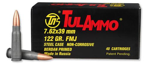 TulAmmo 7.62x39mm, 122gr, FMJ, Steel Cased, 40rd Box