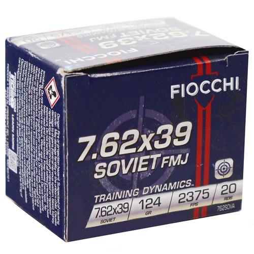 Fiocchi Training Dynamics 7.62x39mm, 124gr, FMJ, 20rd Box