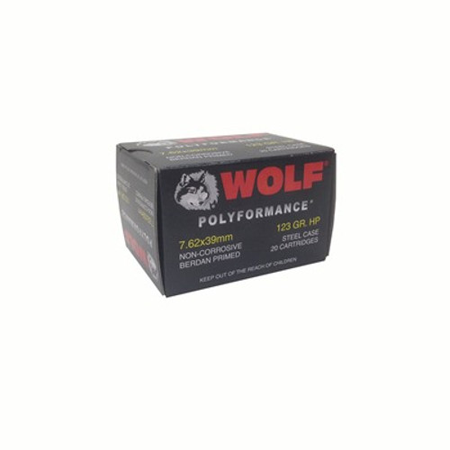 Wolf Perforrmance 7.62x39mm, 123gr, Hollow Point, Steel Cased, 20rd Box