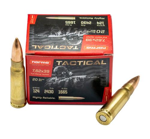 Norma Tactical 7.62x39mm, 124gr, FMJ, 20rd Box
