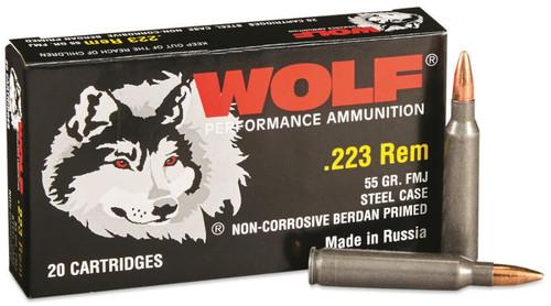 Wolf .223 Rem, 55gr, FMJ, Steel Cased, 20rd Box