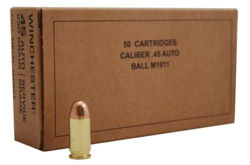Winchester Military Service Grade Ball M1911 45 ACP 230gr, Full Metal Jacketrd Nose, 500rd/Case (10 Boxes of 50rd)