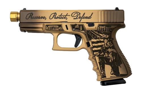 "Glock G19 Gen3 'Constitution' USA 9mm, 4.07"" Barrel, Fixed Sights, Laser Engraved, Tan/Brown, 15rd"