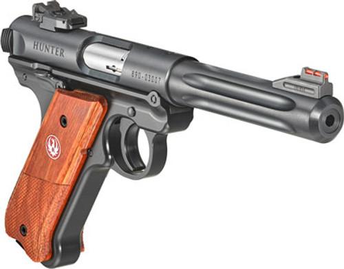 """Ruger TALO Mark IV Hunter .22 LR, 5.5"""" Barrel, Hi-Viz FO Red Front, Laminate, Blued, 10rd"""