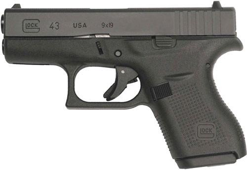 """Glock 43 USA Factory Rebuilt 9mm, 3.39"""" Barrel, Fixed Sights, Black, 6rd"""