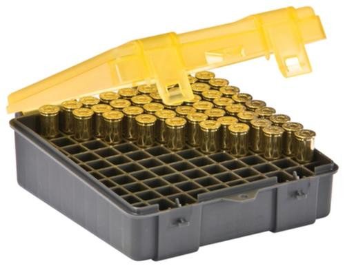 Plano Molding Flip Top Handgun Ammo Case 100rd .38 Special/.38 S&W/.357 Magnum Gray/Amber