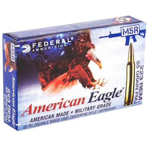 Federal American Eagle .223 Rem, 55gr, Full Metal Jacket Boat Tail, 20rd Box