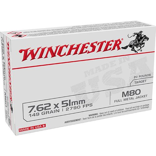 Winchester USA 7.62x51mm NATO 149gr, Full metal Jacket Lead Core (FMJLC) 20rd Box