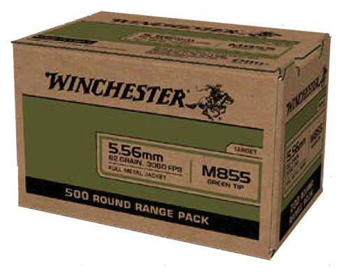 Winchester USA 5.56x45mm NATO 62gr, Full Metal Jacket Lead Core (FMJLC) 500 Bx/ 2 Cs (Sold by Case)