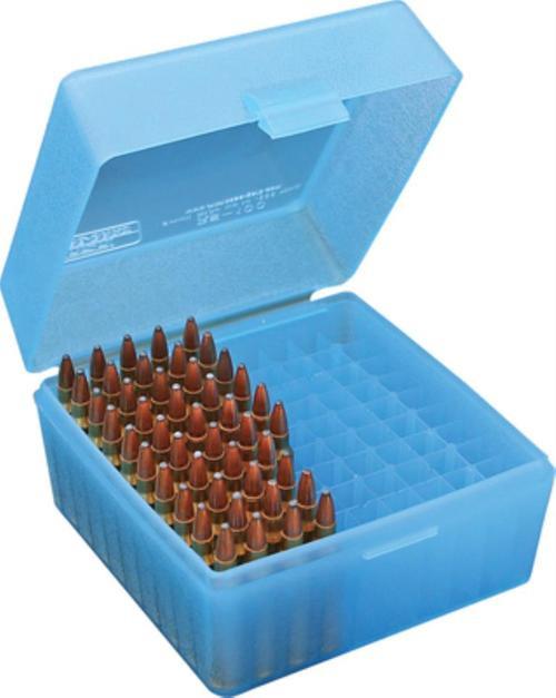 MTM Case Gard RS-100 Rifle Ammo Box .17 To .222 Magnum, Blue