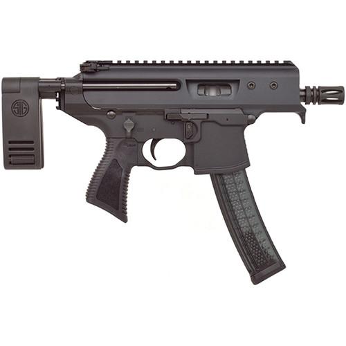 "Sig MPX 9mm, 3.5"" Threaded Barrel, Telescoping Brace, Monolithic Upper, Black, 30rd"