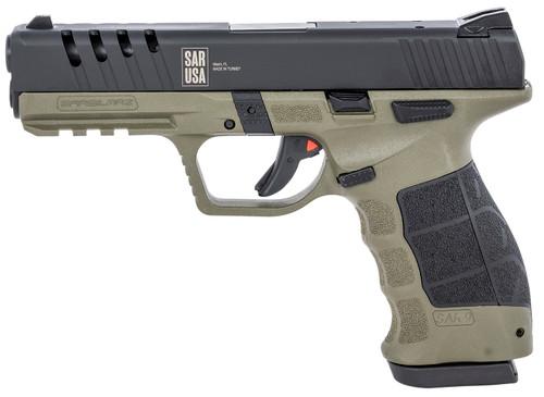 "SAR USA SAR9X 9mm, 4.4"" Barrel, Adjustable Sights, OD Green/Black, 17rd"