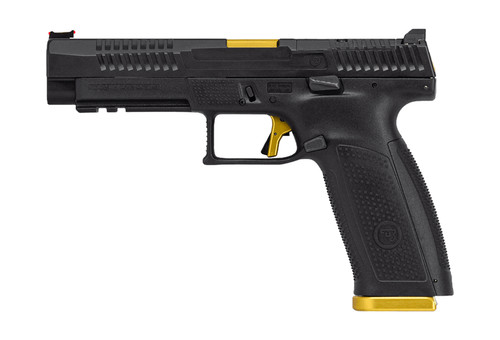 """CZ P-10 F Competition-Ready 9mm, 5"""" Barrel, Optics Ready/FO Sights, Gold/Black, 19rd (INACTIVE)"""