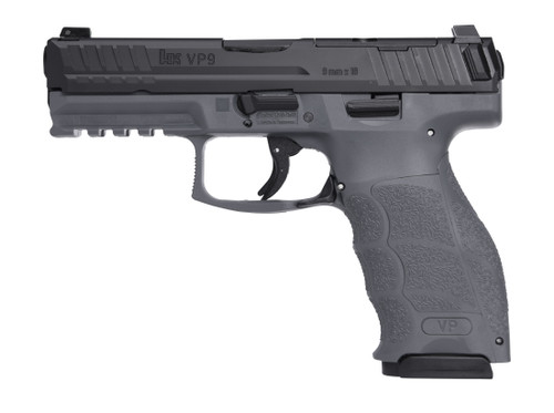 "HK VP9 9mm, 4.1"" Barrel, Night Sights, Grey/Black, 17rd"