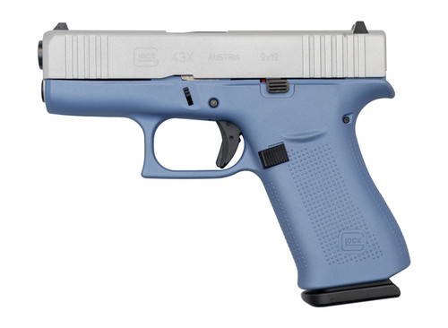 "Glock 43X AUS 9mm, 3.41"" Barrel, Fixed Sights, Polar Blue / Silver, 10rd"