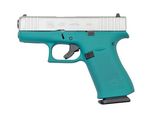 "Glock 43X AUS 9mm, 3.41"" Barrel, Fixed Sights, Aztec Teal / Silver, 10rd"